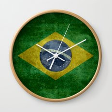 Vintage Brazilian National flag featuring a football ( soccer ball ) Wall Clock