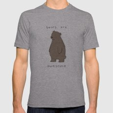 Bears are Awesome  Mens Fitted Tee Athletic Grey SMALL