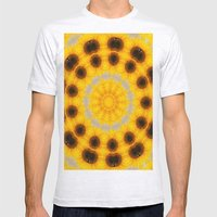 Sunflower and Bee Abstract Mens Fitted Tee Ash Grey SMALL