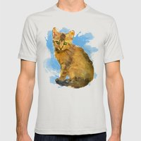 Watercolor and splatter Cat Mens Fitted Tee Silver SMALL