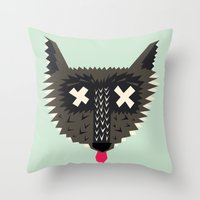 Happy Wolf Throw Pillow