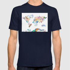world map landmarks collage Mens Fitted Tee Navy SMALL