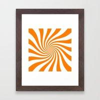Swirl (Orange/White) Framed Art Print