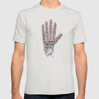 Hand Ribbon Mens Fitted Tee Silver SMALL
