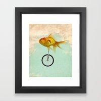 unicycle goldfish 02 Framed Art Print