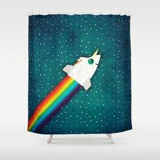 Unicorn Rainbow Rocket Shower Curtain