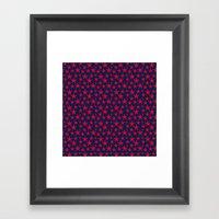 Red stars on bold blue background illustration Framed Art Print