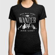 Not All Who Wander Are L… Womens Fitted Tee Tri-Black SMALL
