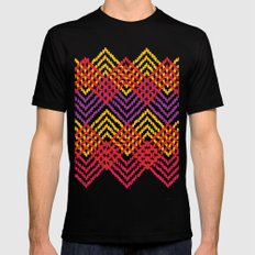 Woven Diamond - Magenta, Red, Yellow Black SMALL Mens Fitted Tee