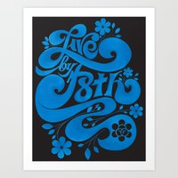 Live By F8th Script Black Art Print