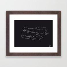 Gator Skull Black Framed Art Print