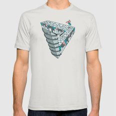 Up and Down City Mens Fitted Tee Silver SMALL