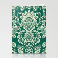 Stationery Cards featuring Damask Vintage In Green by Chicca Besso