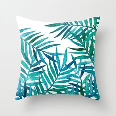 Watercolor Palm Leaves on White Throw Pillow