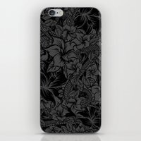 Snaky Fleur, Black and Grey iPhone & iPod Skin