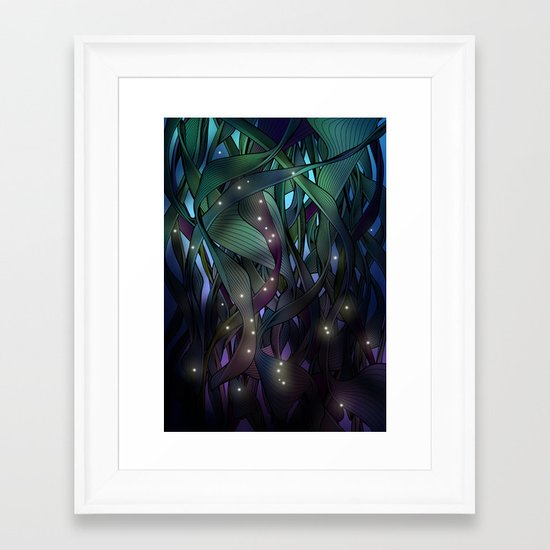 Nocturne with Fireflies Framed Art Print
