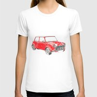 Red Mini Cooper Womens Fitted Tee White SMALL