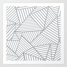 Abstraction Lines Zoom Grey Art Print