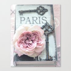 Paris Roses Skeleton Key Art  Canvas Print