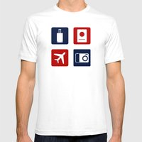 Travel Icons in RWB Mens Fitted Tee White SMALL