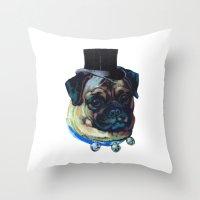 Sir Pugs Throw Pillow