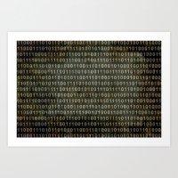 The Binary Code - Distre… Art Print