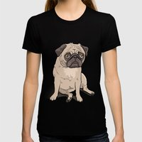 Lilly (pug) Womens Fitted Tee Black SMALL