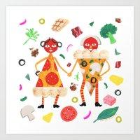 Pizza Folk Art Print