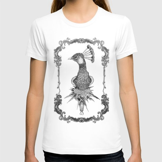 peacock black&white  T-shirt