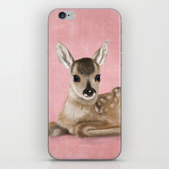 Portrait of a small fawn on a rustic pink background iPhone & iPod Skin
