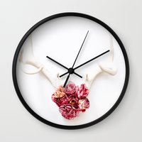 Floral Antlers III Wall Clock