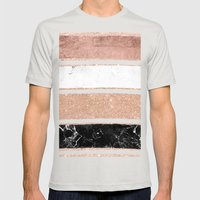 Faux Rose Gold Glitter M… Mens Fitted Tee Silver SMALL