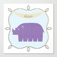 Fun At The Zoo: Rhino Canvas Print