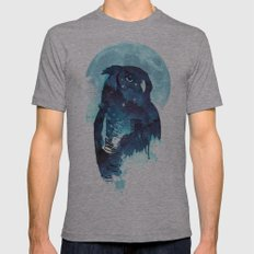 Midnight Owl Mens Fitted Tee Athletic Grey SMALL