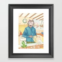 Everyday Animals - Mr Wolf washes the dishes Framed Art Print