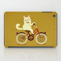 White cat on a bicycle iPad Case