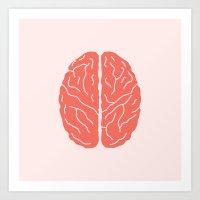 brain Art Prints featuring Brain by Yellow Chair Design