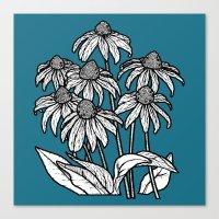Blue Flowers Square Canvas Print