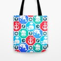 Marine Animals Geometric Pattern Tote Bag
