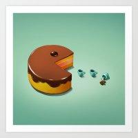 Art Snacks: Pacman Cake Art Print
