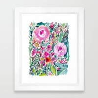 Pink Pow Wow Floral Framed Art Print