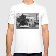 Man on a Bike White SMALL Mens Fitted Tee