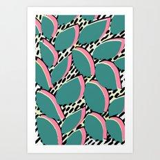 80s leaf pattern Art Print