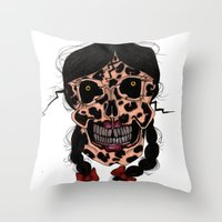 Skull-N-Bows Throw Pillow