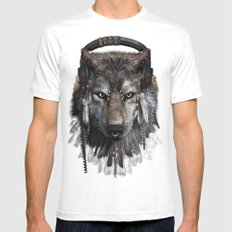 Wolf Pattern Mens Fitted Tee SMALL White