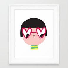 heart glasses girl Framed Art Print