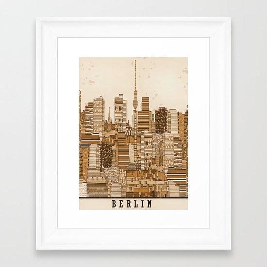 berlin skyline vintage  Framed Art Print