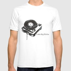 I Can Dig Elvis SMALL White Mens Fitted Tee
