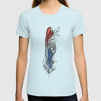 Eye-ris Feather Womens Fitted Tee Light Blue SMALL