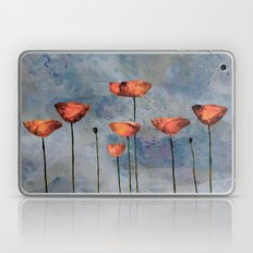 Poppyfield against the blue sky- abstract watercolor artwork Laptop & iPad Skin